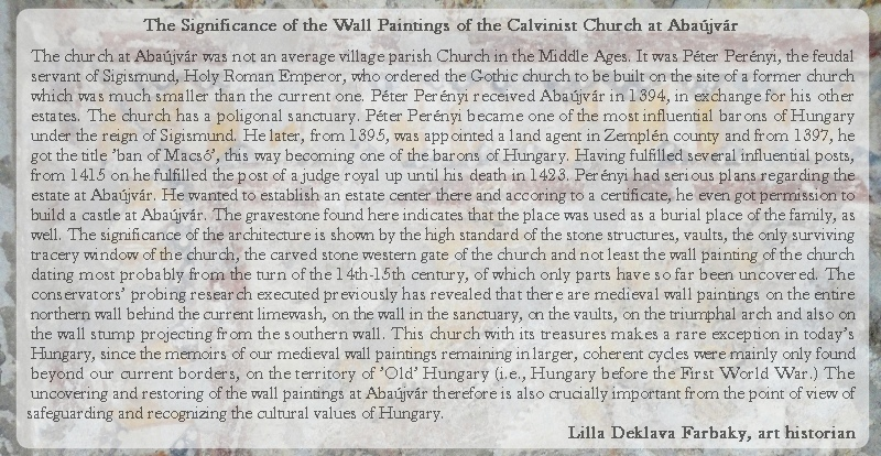 The significance of the wall paintings of the Calvinist Church at Abaujvar mod
